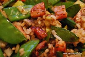 Piripirikryddan kassler med ris och korn
