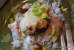 Svampgratinerad färsbiff med ris