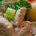 Kyckling med dragon, purjo, potatis o morötter
