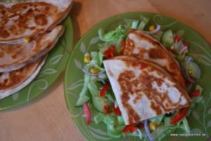 Quesadillas med skinka, ost och salsasås