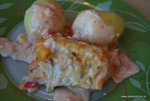 Fisk i chilisås med paprika och ost