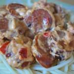 Chorizo i paprika och chilisås