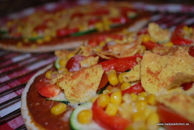 Mexikansk grönsakspixxa med tacotopping - linas matkasse - propoints - viktväktarna - vegetariskt - taco