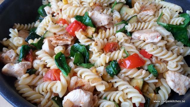 Fusillipanna med kyckling, zucchini och spenat - vvtillsammans - smartpoints- viktväktarna