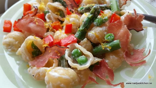 Krämig pasta med sparris och skinka-viktväktarna-smartmat-vvsmartmat-smartpoints-weightwatchers