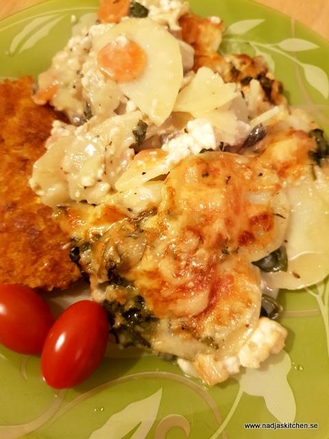 kycklinggratäng med potatis och fetaost