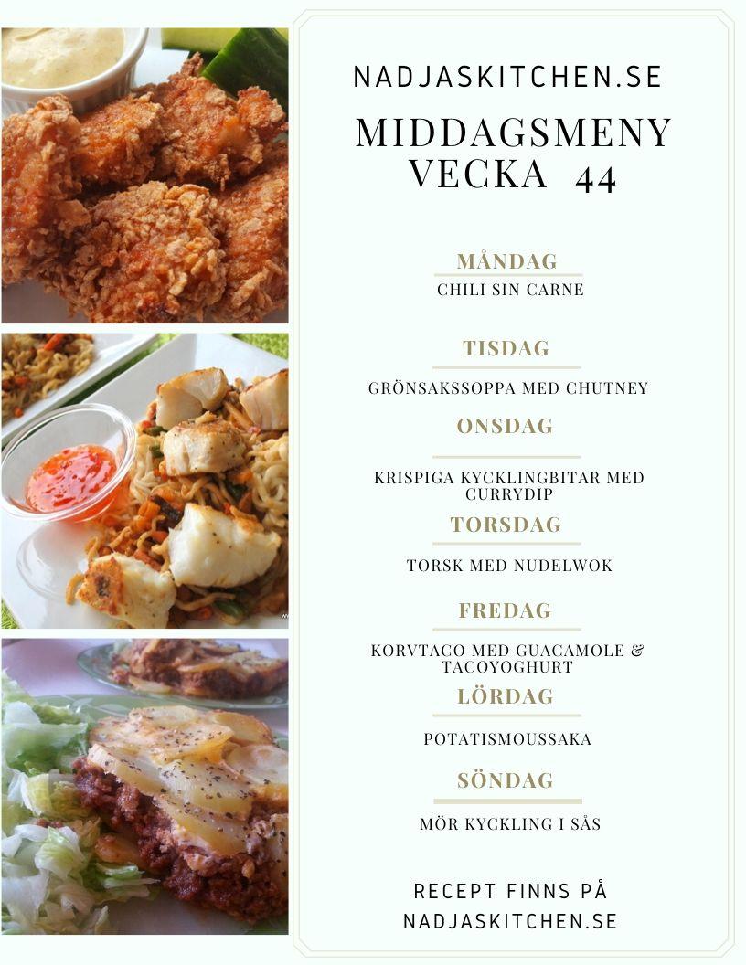 Middagsmeny - matsedel - veckomeny - smartpoints - viktväktarna